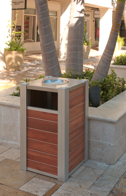 DeepStream modern Trash Bin with Ash receptacle