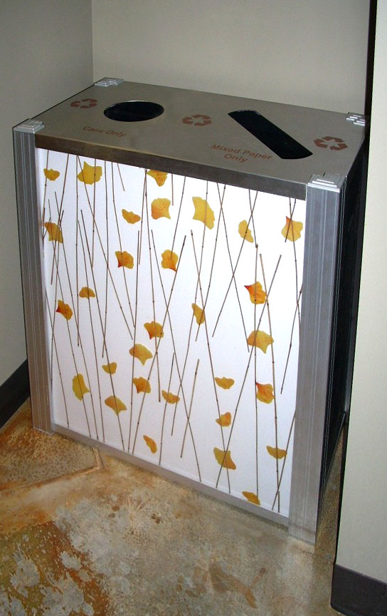 modern combination trash and recycling bin 3Form Ginko panel