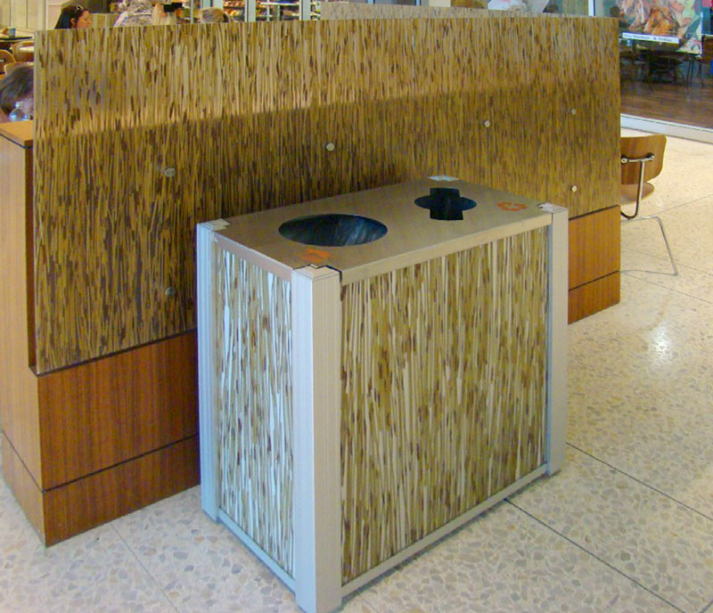 DeepStreamDesign's modern combination trash and recycling bin 3Form Tigerthatch panel