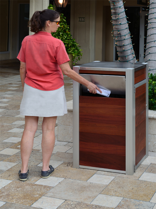 large wood exterior wood trash bin