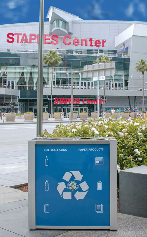 exterior combination trash and recycling bin