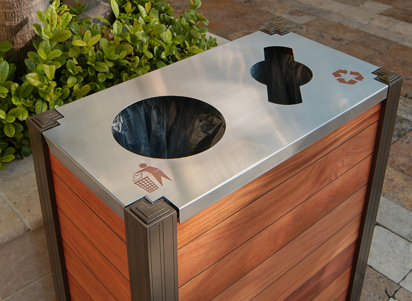 modern exterior wood combination trash and recycling bin