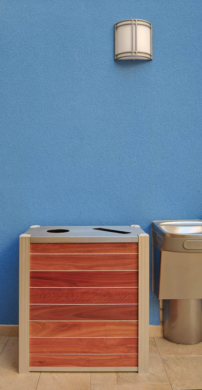 modern wood dual stream recycling bin