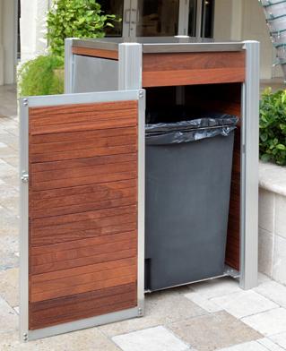large wood exterior wood trash bin