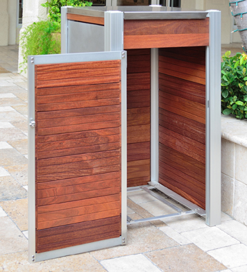 large wood exterior trash bin