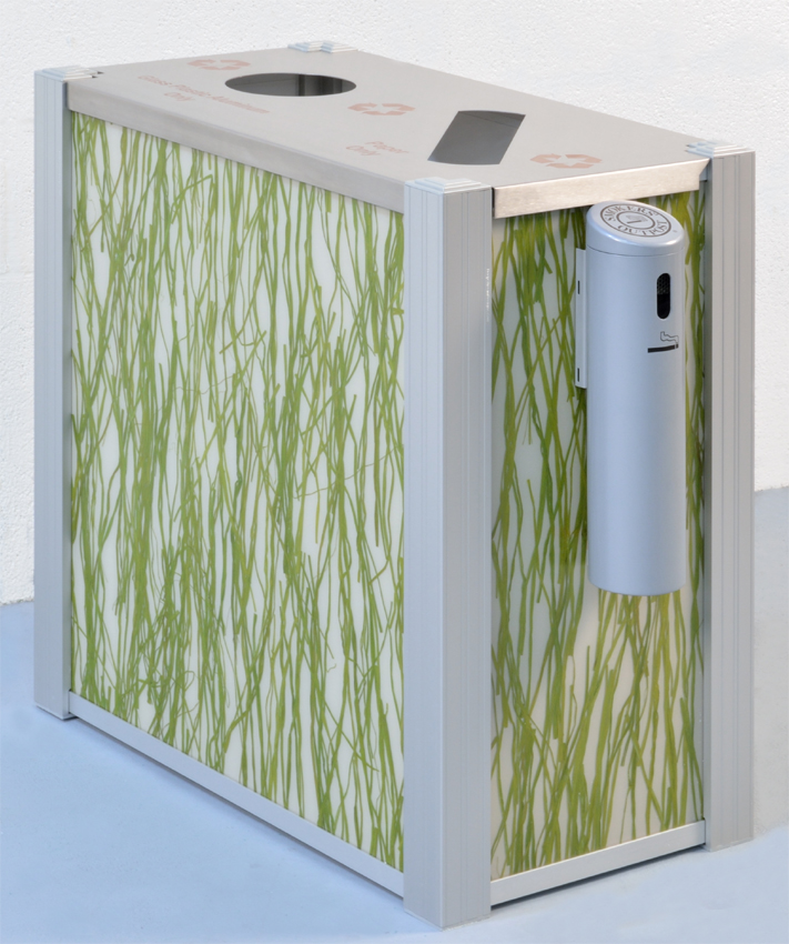 Outdoor Recycling Bin by DeepStream Designs with passivated stainless steel lid and Smokers Station