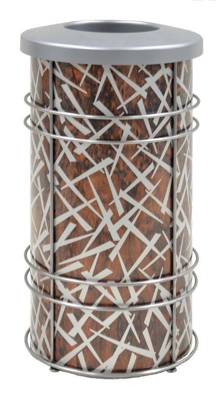 Chameleon Trash or Recycling Bin shown in ChopStix design with snakewood and silver with stainless steel frame and bin lid