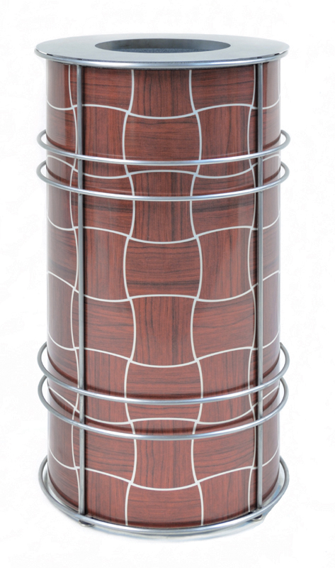 Chameleon Trash or Recycling Bin shown in ChopStix design with Mahogany and silver with stainless steel frame and bin lid