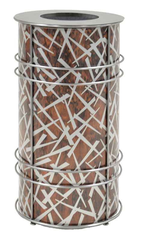 Chameleon Trash or Recycling Bin shown in ChopStix design with snakewood and silver with stainless steel frame and stainless steel museum lid