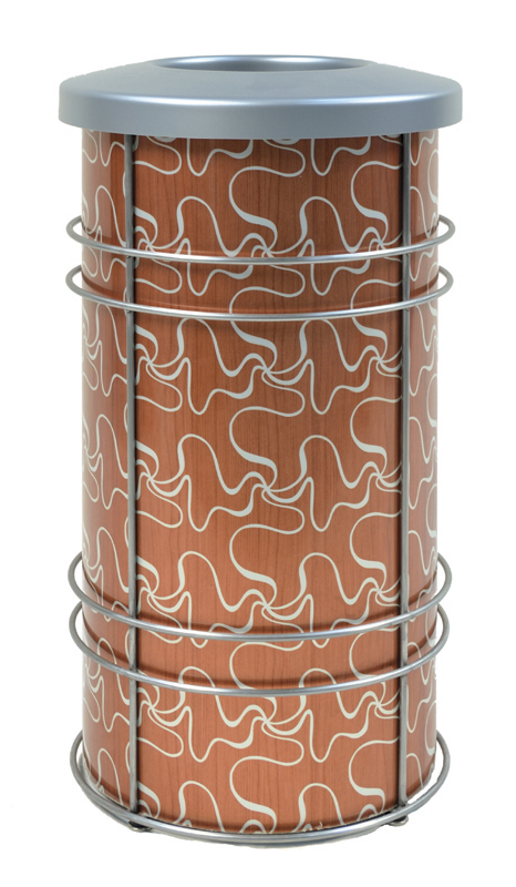 Chameleon Trash or Recycling Bin shown in CrossSway design with blond wood and silver with stainless steel frame and bin lid