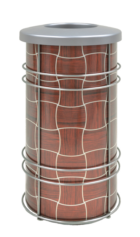 Chameleon Trash or Recycling Bin shown in CrossSway design with Mahogany and silver with stainless steel frame and bin lid