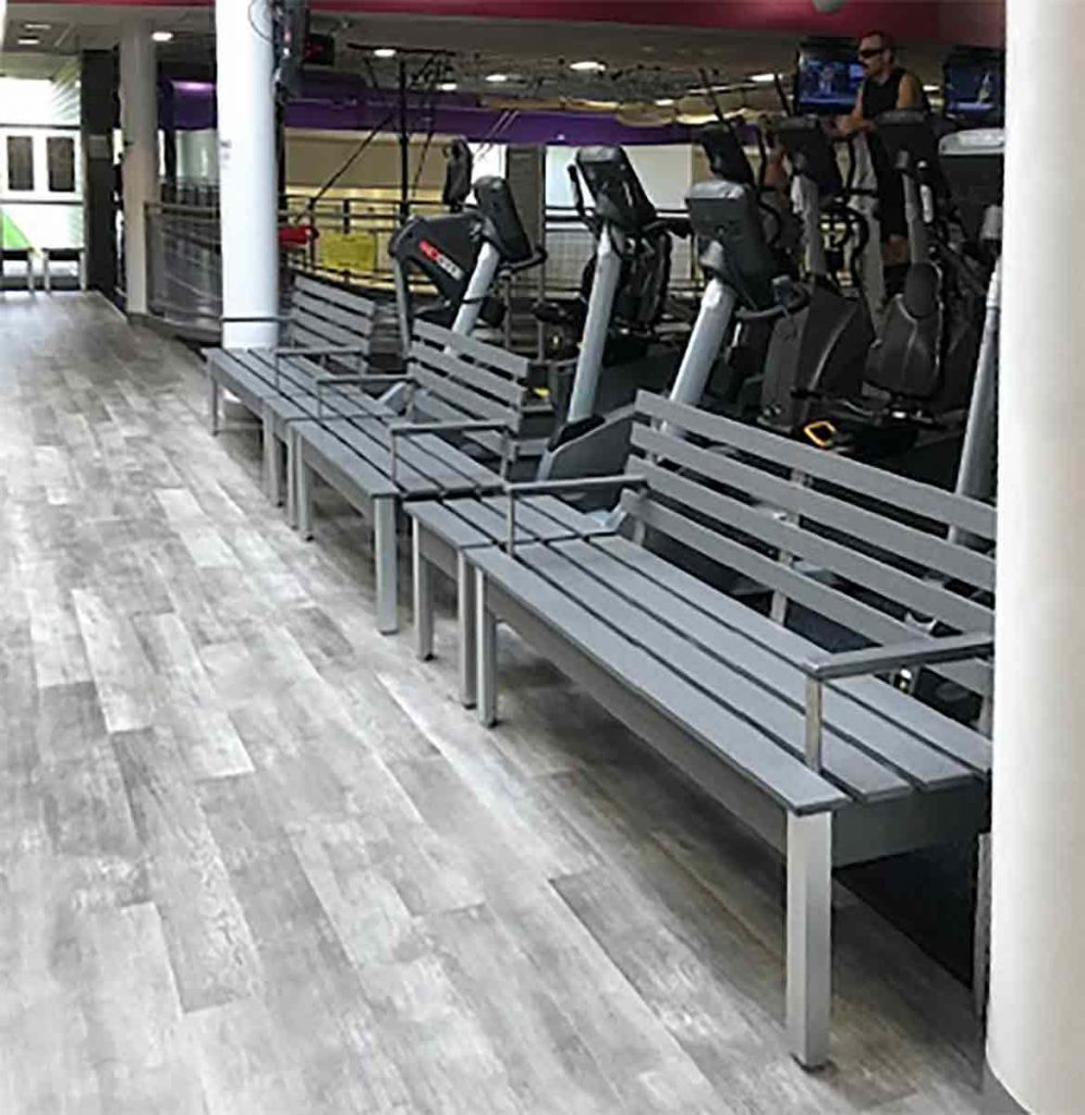 DeepStream Custom Fixtures: Benches in a hotel gym made with recycled plastic lumber, aluminum and 316-stainless steel to last virtually forever. Not only is RPL waterproof so it doesn't absorb sweat it can be easily sanitized. Tap the picture to link to more bench ideas.