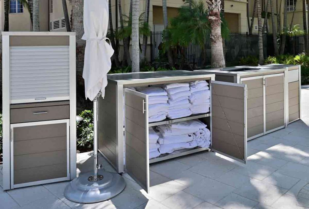 A suite of weatherproof custom outdoor fixtures for condos hotel, and water parks constructed with recycled plastic lumber, RPL, instead of traditional tropical hardwood saving the businesses maintenance costs while saving the rainforest at the same time. Tap the picture to link to more information.